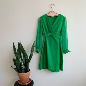 VTG 60's Kelly Green A Line Dress w Sheer Sleeves